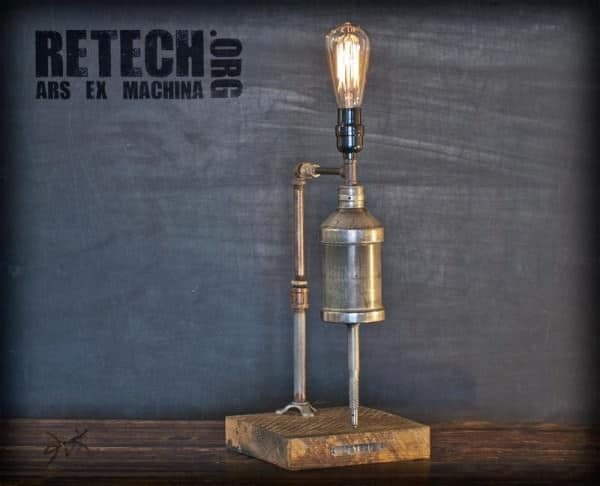 drill 501912 600x486 ReTech Lighting in lights with upcycled furniture Upcycled steel steampunk Sculpture reuse Repurposed Recycled Art Metal fine art