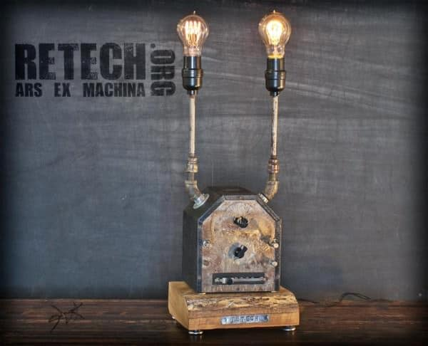 ReTech Lighting in lights  with upcycled furniture Upcycled steel steampunk Sculpture reuse Repurposed Recycled Art Metal fine art