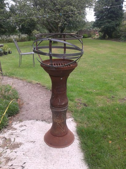 Jardiniere made from two reclaimed chimineas