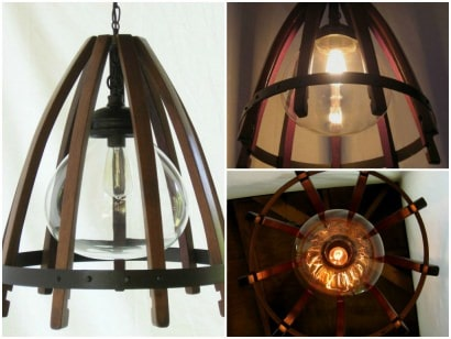 Medusa, Recycled Oak Wine Barrel Staves & Hoop Pendant Light With Glass Shade