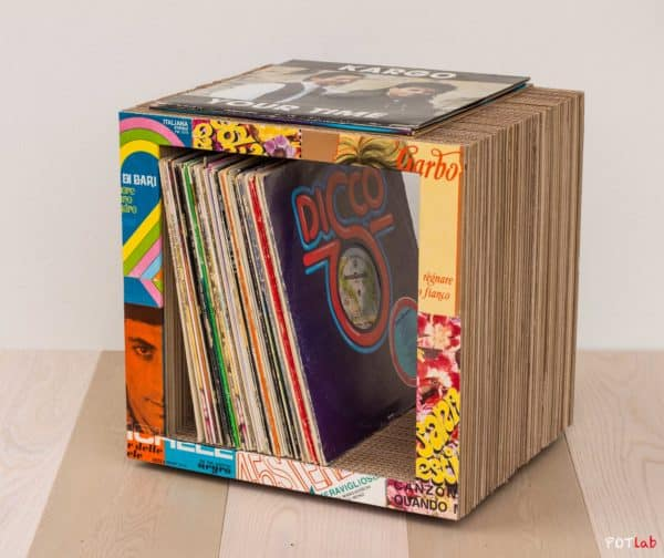 Vinyl Cube in cardboard  with Vintage upcycled furniture Recycled Music home Craft
