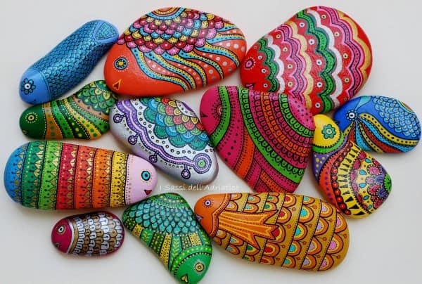 Painted Pebbles and Stones Recycled Art