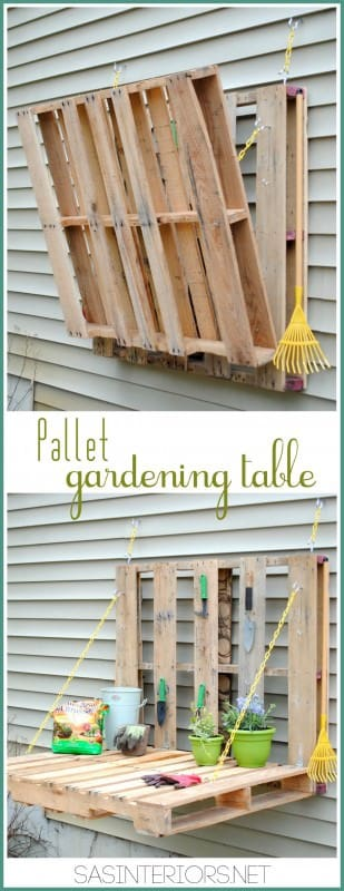 Vertical pallet gardening table Do-It-Yourself Ideas Garden Ideas Recycled Pallets