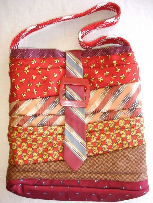 Upcycled Necktie Bag in fabric accessories  with Vintage Upcycled Scrap reuse Repurposed Accessories