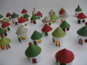 DIY christmas village from toilet paper rolls