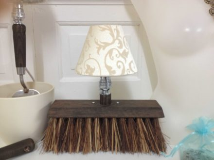 Hand garden fork, spade table lamp and yard broom table lamp