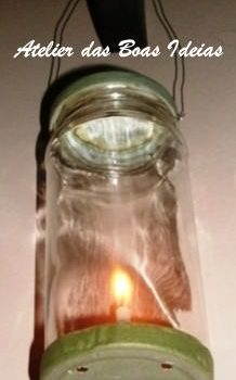 Lantern made ​​with glass jar