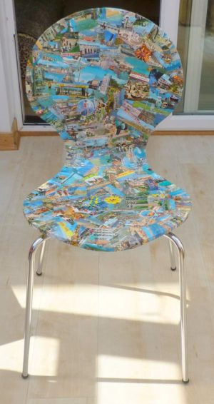 Upcycled postcard chairs