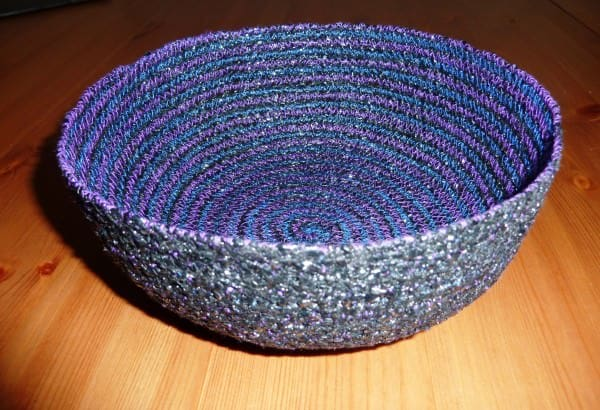 Recycled Video Tape Bowls in accessories  with Video Tape textiles recycling Fabric Crochet Bowls