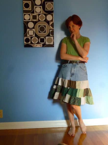 Shirts + Shorts = Salvaged Skirt