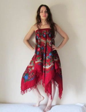 Gipsy style skirt made from folk scarf