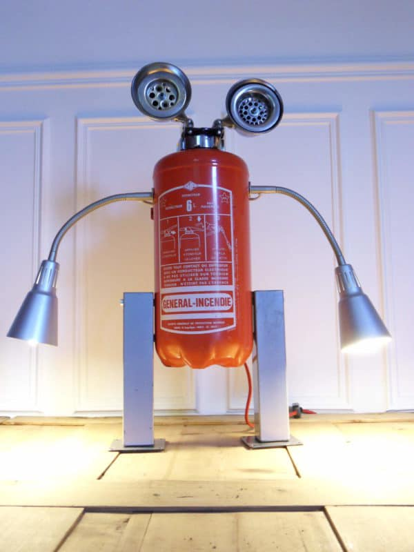 Robot lamp made with a recycled fire extinguisher in art lights  with Upcycled Sculpture Robot Recycled Art Recycled Metal Light Lamp fire extinguisher Assemblage
