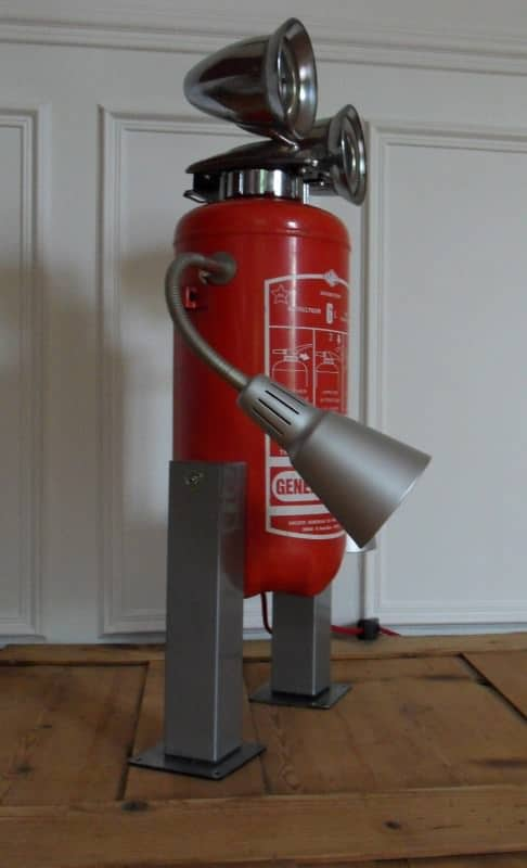 Robot lamp made with a recycled fire extinguisher in lights art  with upcycling Sculpture Robot Recycled Metal Lights Lamp fire extinguisher Assemblage Art