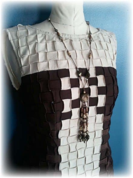 Upcycled Basket Weave – T-Shirt Party Dress
