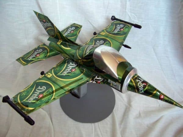 Luke Skywalker Spaceship and aircrafts made from beer cans in packagings diy  with star wars Cans Beer