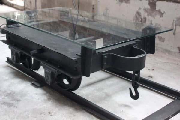 Mine wagon repurposed for a coffee table in furniture metals  with wagon Coffee Table