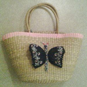 Basket customized with a recycled bra