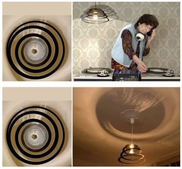 Ceiling lamp made from upcycled vinyl Lamps & Lights