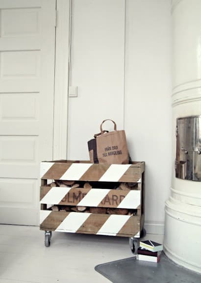 Pallets used as firewood storage