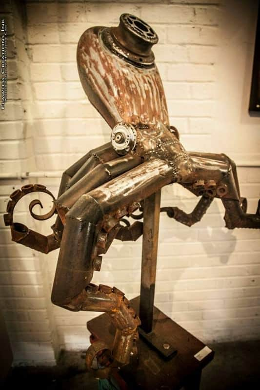 Octopus Tank Sculpture from Repurposed Motor Bike Tank Recycled Art