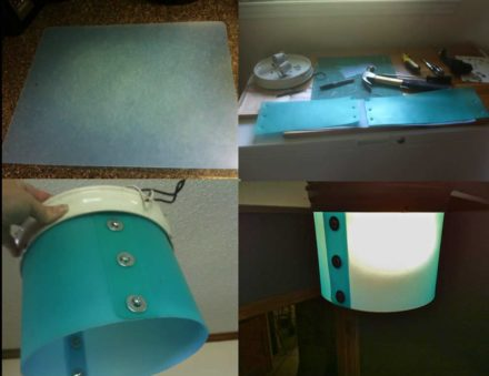 Ceiling Light Shade from Plastic Kitchen Chopping Mats