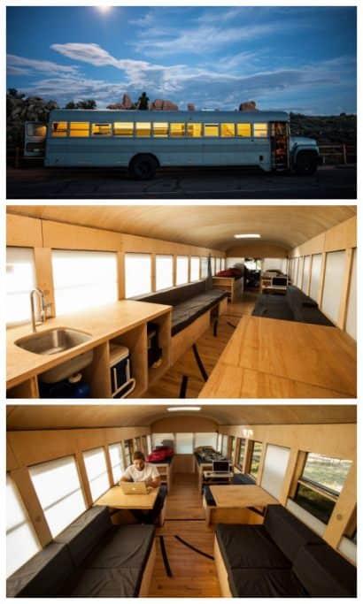 School bus repurposed into a mobile home