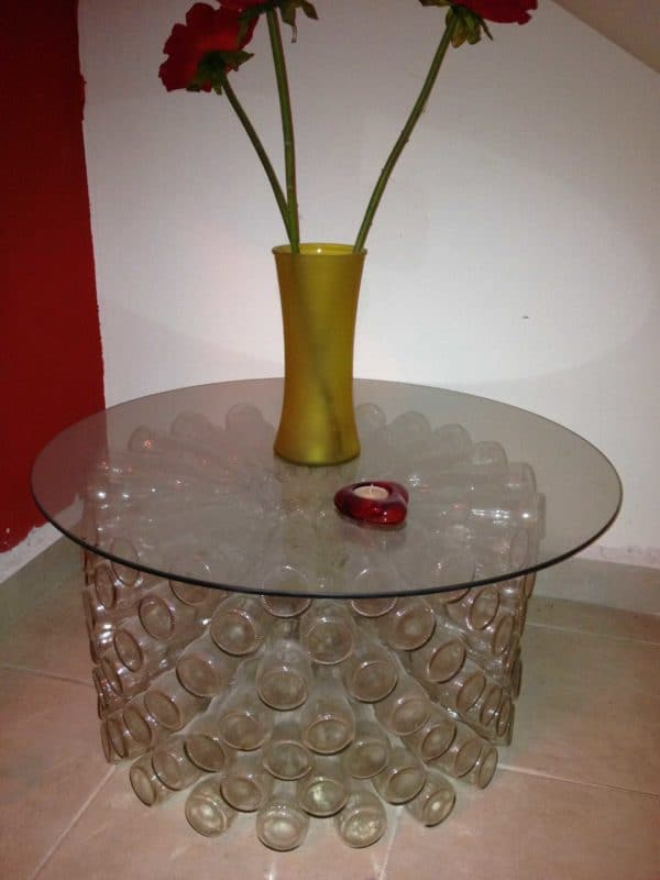Coca Cola bottles table in glass furniture  with Table Recycled Glass Furniture Bottle