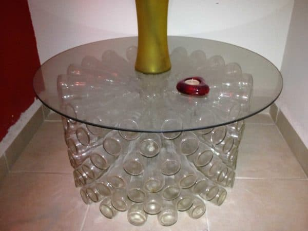 Coca Cola bottles table in furniture glass  with upcycled furniture Table Recycled Glass Bottle