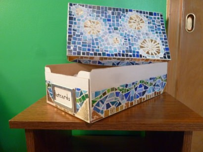 Mosaic Box from old Christmas Cards