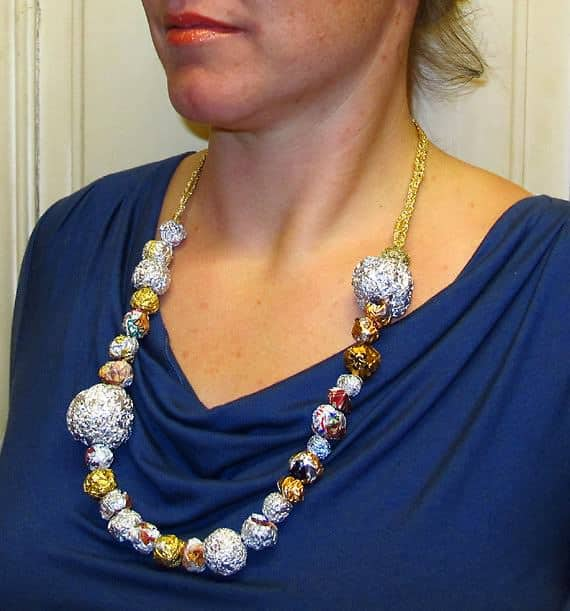 Necklace from Aluminum Foil, Candy Wrapper Balls, Globes and Spheres Upcycled Jewelry Ideas