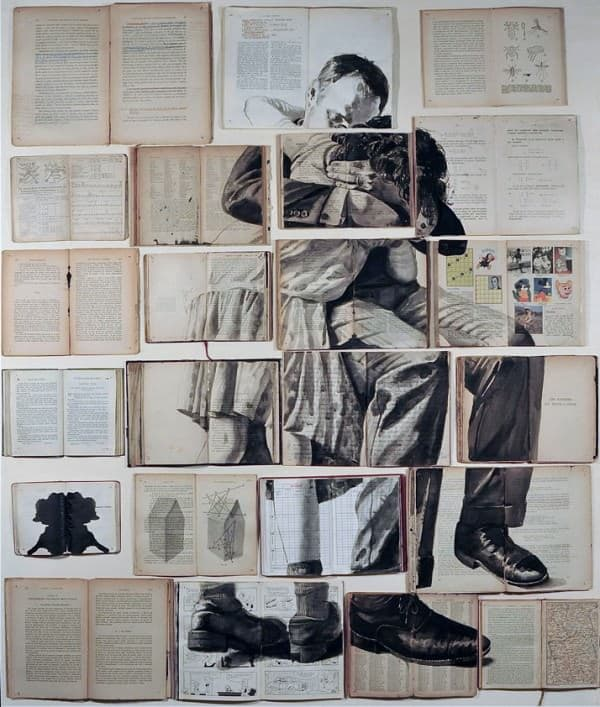 Work on books by Ekaterina Panikanova in art paper  with Recycled Art Recycled Paper & Books Books