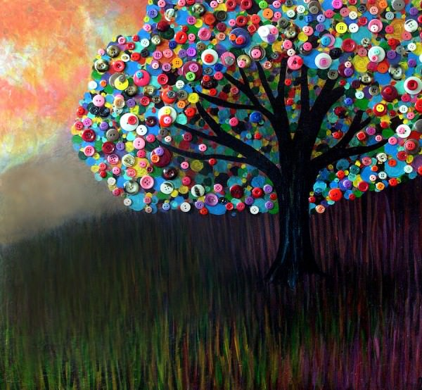 Button trees by Monica Furlow in plastics art  with Tree Repurposed Painting Button