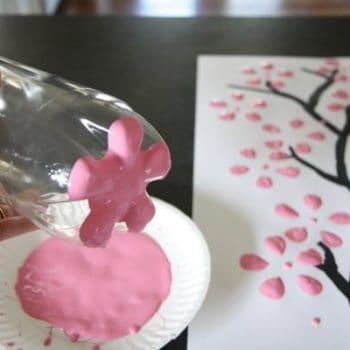 Cherry blossom art from recycled plastic bottles