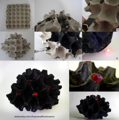 Coral home decor lantern from papier mache