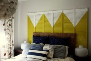 Old closet doors to make a modern headboard