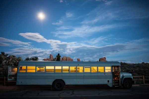 School bus repurposed into a mobile home in architecture  with school Reused Mobile Home bus