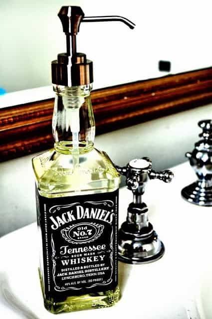 Bottles reused as soap dispensers in diy  with Bottle Bathroom