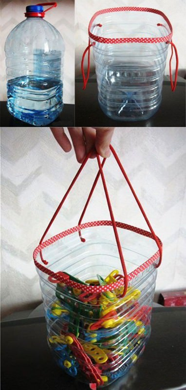Clothes pins bag from plastic bottles in plastics diy  with Repurposed Bottle