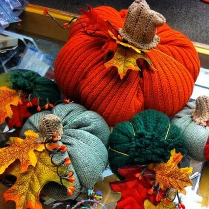 Pumpkins made out of recycled sweaters