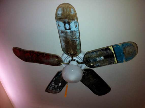 Used Skateboard Deck Ceiling Fan Blades Recycled Sports Equipment Upcycled Bicycle Parts Wood & Organic