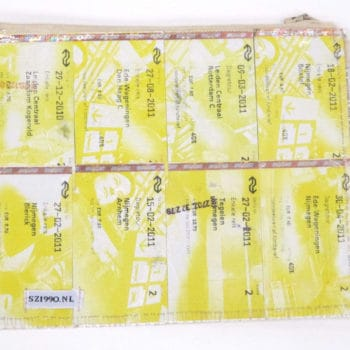 Dutch traintickets recycled into pencil case