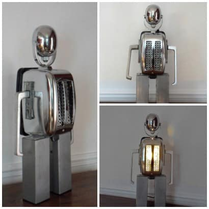 A recycled toaster robot lamp
