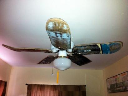 Used skateboard deck ceiling fan blades