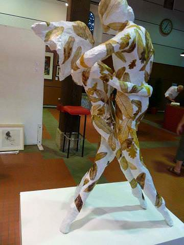 The Kiss: Sculpture From Paper & Leaves Recycled Art