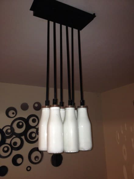 Lamp with Starbucks coffee cans