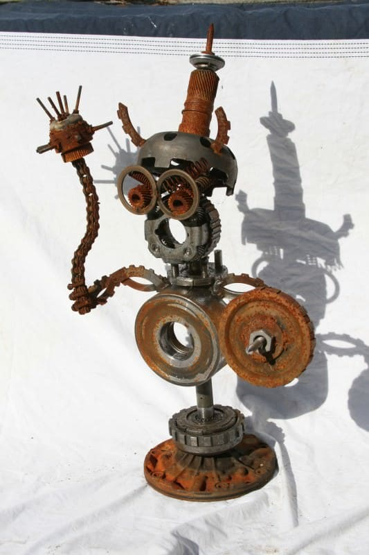 Scrapyard Transformers   These creatations evolve they are not made  in metals electronics art  with Sculpture Recycled Metal Art
