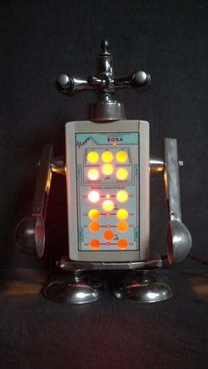 lamp robot made with recycled parts
