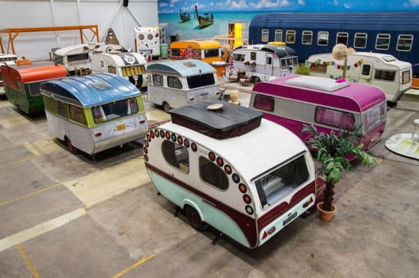 Industrial Space Transformed into Vintage Caravan Hotel Home Improvement Interactive, Happening & Street Art Mechanic & Friends