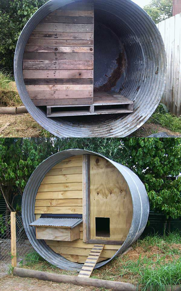 Water Tank + Pallets = Chicken Coop Recycled Pallets Wood & Organic
