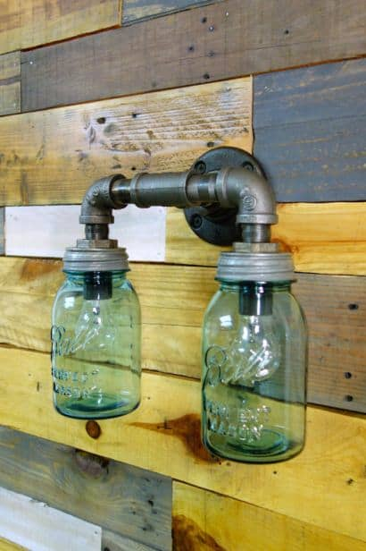 industrial upcycled lighting from Mason jars